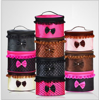 Wholesale Fashion Cosmetic Bags Dots Lace Bowknot Makeup Bag Cases Large Capacity Portable Storage Bags handbag mixed colors mirror Wash gargle bag