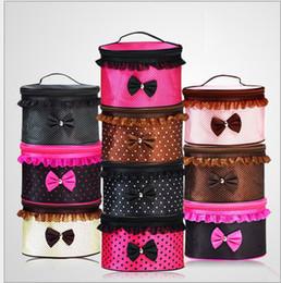 Promotion mélanger le cas de la mode Mode Sacs cosmétiques Dots Lace Bowknot sacs à maquillage sacs à grande capacité de stockage portable sacs à main mixte couleurs miroir gargarisme lavage sac