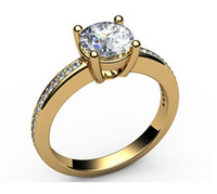 Wholesale 14K YELLOW SOLID GOLD CT ROUND CUT REAL DIAMOND ENGAGEMENT PAVE RING