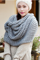 Wholesale Hot selling Color Ms thick winter scarf knitted wool scarf long shawl can be dual use