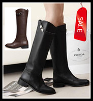Wholesale 2013 Newest designer shoes Army women s with buckle genuine leather Knee high boots Western Cowboy Boots colors brown black size