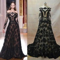 Wholesale Inspired Zuhair Murad Evening Dresses A Line Transparent Neckline Long Sleeve Black Lace Evening Gowns Buy Get Free Necklace