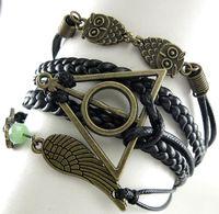 achat en gros de harry bracelets en cuir de potier-New Owl Harry Potter Reliques de la Mort cuir nautique Bracelet de l'amitié (a0032)