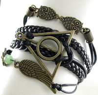 Wholesale New Owl Harry Potter The Deathly Hallows Leather Nautical Friendship Bracelet a0032