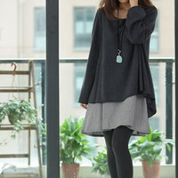 Wholesale fashion8071 Korean fashion maternity dress pregnant women pregnant women pregnant women two piece long sleeved big yards long section of a
