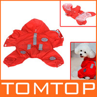 Raincoats Fall/Winter Unisex Red Pet Rainwear Dog Raincoat Hoodie Hooded Waterproof Pet Clothes Apparel XS S M L XL wholesale H9859R-XS S M L XL