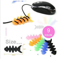Wholesale Silicone Rubber Fish Bone Earphone Cord MP3 MP4 player Cable Winder Holder Organizer