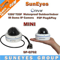 Wholesale SunEyes ONVIF P HD MP Mini Dome IP Camera Outdoor Indoor Waterproof Metal Case IR Night Vision P2P Plug Play SP Q702