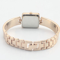 Wholesale Alloy Gentle Woman Gold Color With Full Crystal Wrist Watches Square Style