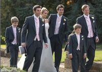 Wholesale Morning Style Groom Tuxedos Charcoal Grey Peak Lapel Groomsman Men Wedding Suits Prom Form Bridegroom Jacket Pants Tie Vest Hanky J128