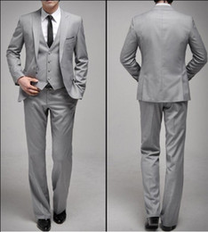 Wholesale Custom Made Groom Tuxedos Light Grey One Button Peak Lapel Best man Groomsman Men Wedding Prom Suits Bridegroom Jacket Pants Tie Vest M691