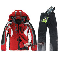 Men Cardigan Hooded Wholesale - Free shipping 6color man's ski suits jacket+pants snowboard Windproof waterproof Clothing AAAAA+++