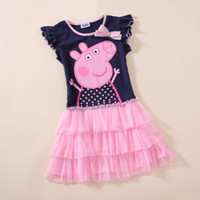Wholesale Ready to Ship Fashion Girls Clothes Peppa Pig Short Sleeve Tutu Dress with Bow Cartoon Children Party Dresses New Arrival