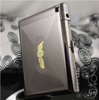 Wholesale Stainless steel cigarette case loaded thin creativity with lighter detachable automatic flip