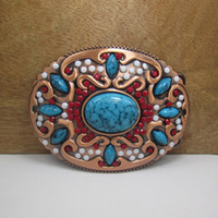 Buckles belt with stones - BuckleHome fashion belt buckle with stones FP with antique brass finish plating