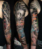 Wholesale 2014 Hot Fashion men flower tattoo arm sleeve gloves sunscreen riding tattoo sleeve pairs