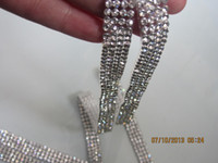 Wholesale 4 Rows quot wide Wide Real Rhinestone Crystal Bling Diamond Trim feet SS9 FOR Wedding Cake Banding Bag Vase