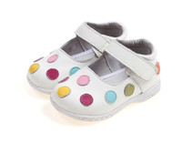 Wholesale 2012 baby soft leather shoes kids white mary jane with multicolored polka dots retail