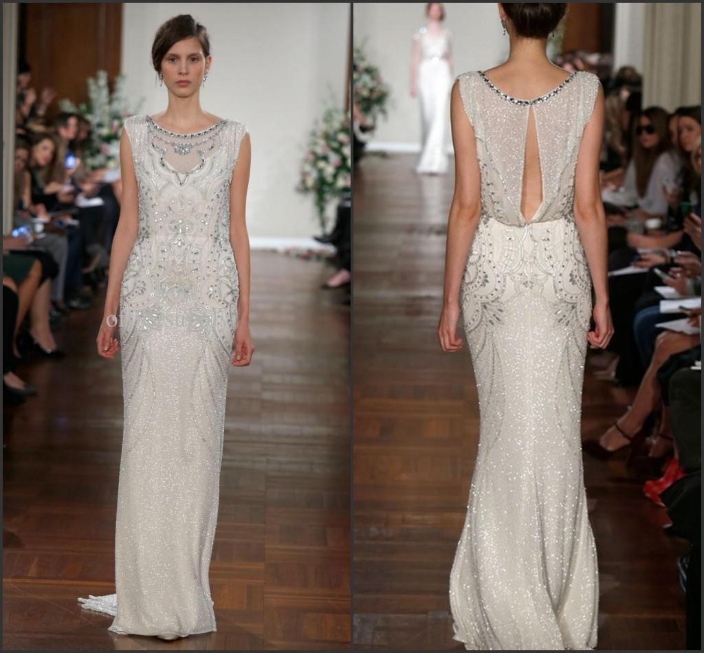 2014 New Arrival Jenny Packham Elegant Evening Dresses Jewel Neck ...