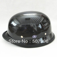 helmets - German Style DOT Approved Half face Motorcycle Helmet military helmet Chopper Cruiser Carbon fiber Matt Black Chrome D