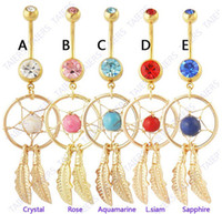 Wholesale Gold plated Dream Catcher Dangle Hot Belly Ring Navel bar Fashion Body Piercing Jewelry Surgical Steel mixed color