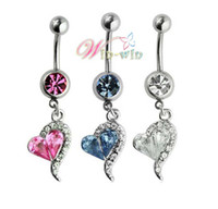 Wholesale Jewelry Stainless Steel heart CZ stones Belly Button Navel Ring Body Piercing