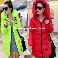 Wholesale CC011 Winter Long Down Coat With Hood Fashion Slim Women s Wadded Parka Jacket Outerwear