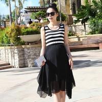 Wholesale Maternity clothing summer maternity dress maternity stripe sleeveless one piece dress chiffon yarn tank dress