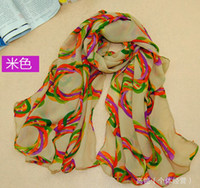 Wholesale Fashion Chiffon Scarves Thin Sunscreen Scarf Colorful Garland RX39