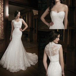Wholesale 2015 New Collection Mermaid Lace Ivory Wedding Dress Bridal Gown With Sheer Back Lace Jacket Sweet heart Court Train Buttons