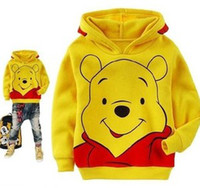 Unisex Spring / Autumn Cotton Blends Children Girls Boys Cartoon Bear Yellow Long Sleeve Hoodies With Hat Autumn Fairy Tales Character Pattern Child Tops Clothing B1680
