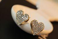 Wholesale korea style Fashion style super cute clear rhinestone love heart ear stud earrings pairs