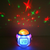 Wholesale Colorful Music Starry Star Sky Projection projector with Alarm Clock Calendar Thermometer Free Ship