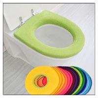 Wholesale quot O quot Rould Bathroom Warmer Toilet Closestool Mat Washable Soft Seat Lid Cover Mat Pad
