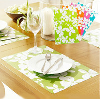 Wholesale 43 cm Color Flower PVC Western Placemat Restaurant Table Mat Coaster Dining Accessories SH071