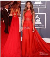 Wholesale Custom Made New Grammy Awards Rihanna Red Carpet Dresses A Line Criss Cross Back Chiffon Evening Dresses