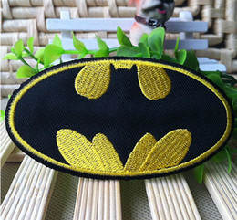 Wholesale Hot cm Embroidered Superhero Shining Gold Batman Iron On patches Sew On Patch DIY accessory for cloth