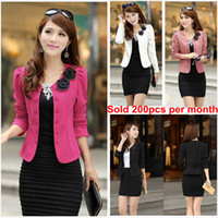 Wholesale 2013 New Fashion Women Lady Tops Slim Suit OL Blazer Short Coat Jacket M XXL