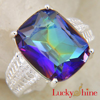 Wholesale Gorgeous Rainbow Charm Mystic Topaz Silver Rings Party Rings For Women R0126