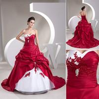 2015 Новый белый красный свадебное платье свадебные платья с фактическими Image Сладко-сердца бальное платье аппликация Кружева Кристалл органзы атласная суд поезд