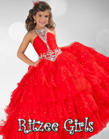 Halter Beads Satin 2014 new fashion red halter beads Ritzee Girls PAGEANT party prom wedding gown evening homecoming dresses
