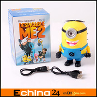Wholesale Cute Carton DESPICABLE ME Mini speaker FM Radio MP3 MP4 Player Amplifier table PC Louderspeaker Portable Micro SD TF Card USB Speaker