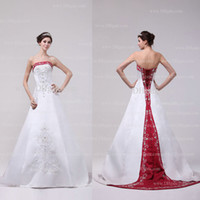 Wholesale 2013 White and Red Wedding Dresses A Line Strapless Silver Embroidery Beaded Satin Chapel Train Satin Wedding Gowns Buy get free Tiara
