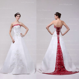 2015 White and Red Wedding Dresses A Line Strapless Silver Embroidery Beaded Satin Chapel Train Satin Wedding Gowns Dhyz 01