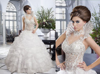 A-Line Reference Images High Collar Custom Made-2014 the Newest Design Luxury Beautiful Wedding Dress Lace Beads Corset Ruffles Organza Skirt Removable Beading Collar