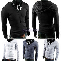 Wholesale New Mens Plain Casual Slim Hooded Long Sleeve Stretch T Shirt Ax197