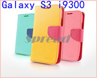 Wholesale 50pcs A0294 New Mercury Fancy Diary PU Leather Case Bright Colored Phone Case with Paper Bag Package For Samsung Galaxy Note N7100