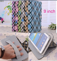Protective Shell/Skin 9 universal universal Plaid PU leather folio leather case cover skin with band strap hand belt for 9 inch MID Tablet stand case