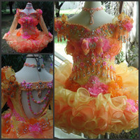 beads flower cup - 2015 Cute Girls Pageant DressesLittle Girls Cup cake Pageant Cap sleeves Organza Mini Flower Girl Dresses