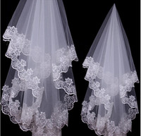 Wholesale 2016 Cheap White Bridal Veils Meter One Layer Lace Applique Elbow Length Tulle Wedding Bridal Veil Wedding Accessories